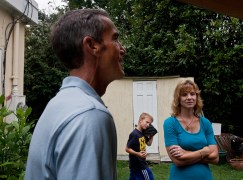Jim, Bradley and Karen spend time in the backyard of their Hilton home during a morning in early August. (Photo by Kaitlin McKeown)