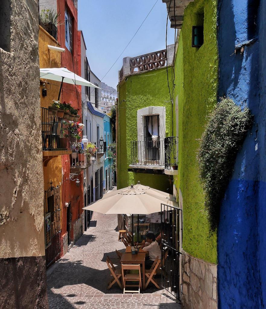 One of many colourful alleys in Guanajuato.