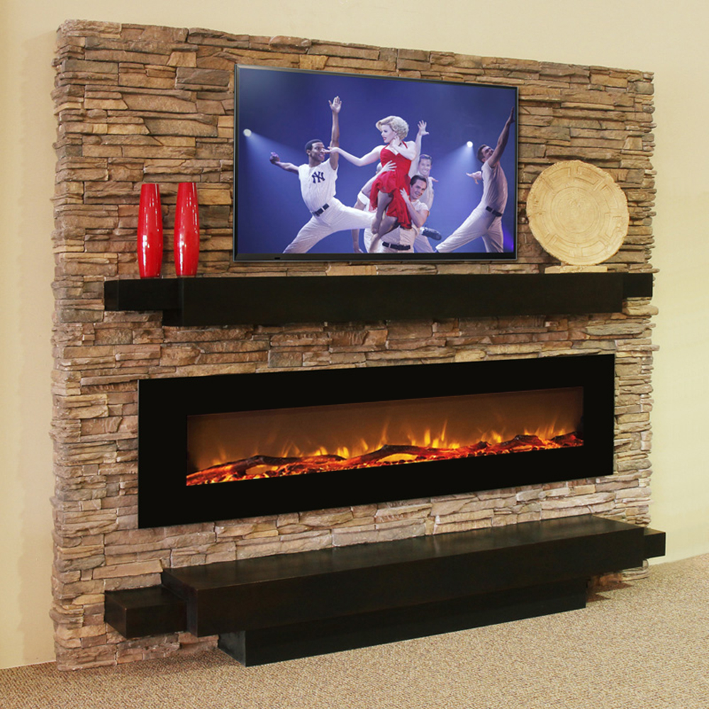 Wall Mount Fireplaces Regal Flame Erie 72 Inch Black Ventless Heater Electric Wall Mounted Fireplace Log