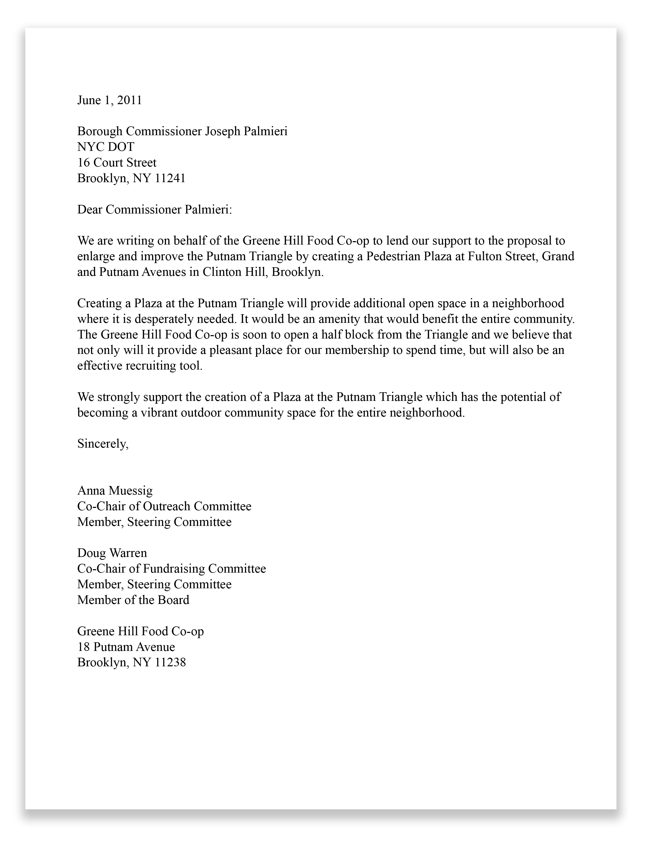Sample Business Letters And Forms 4hb Greene Hill Food Buying Club Letter Supporting Plaza As