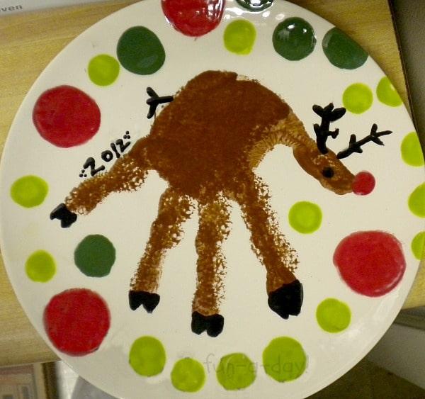 Hand print christmas plates