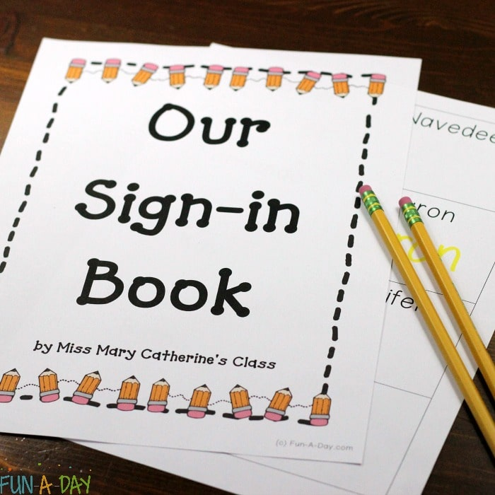How to Make a Book with Free Printable Preschool Sign in Sheets
