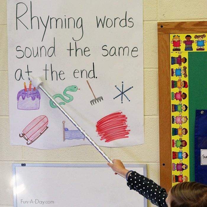 Simple Rhyming Anchor Chart for Preschool - anchor charts