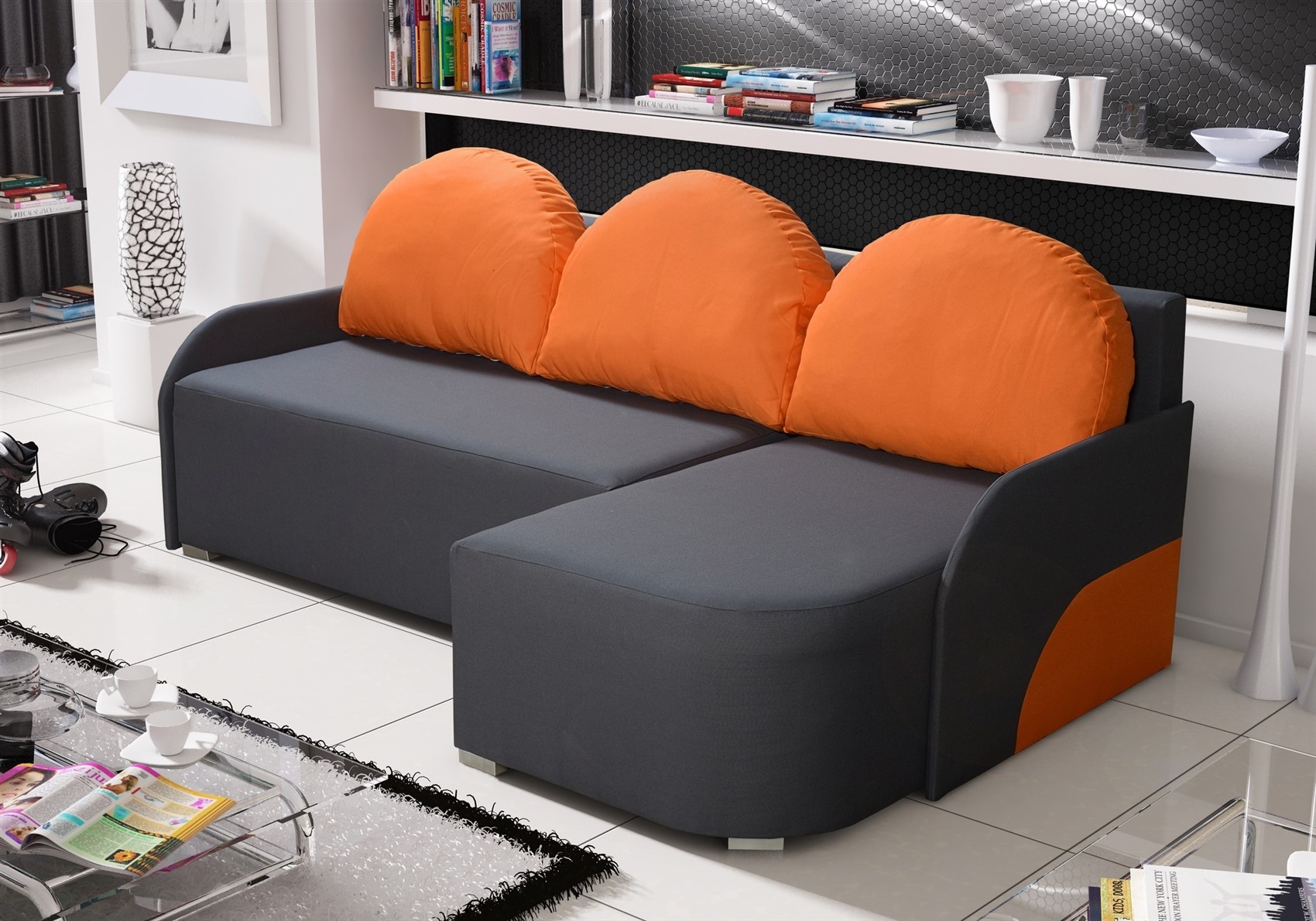 Candy Couchgarnitur Ecksofa Sofa Candy Mit Schlaffunktion Ottomane Rechts Anthrazit Orange