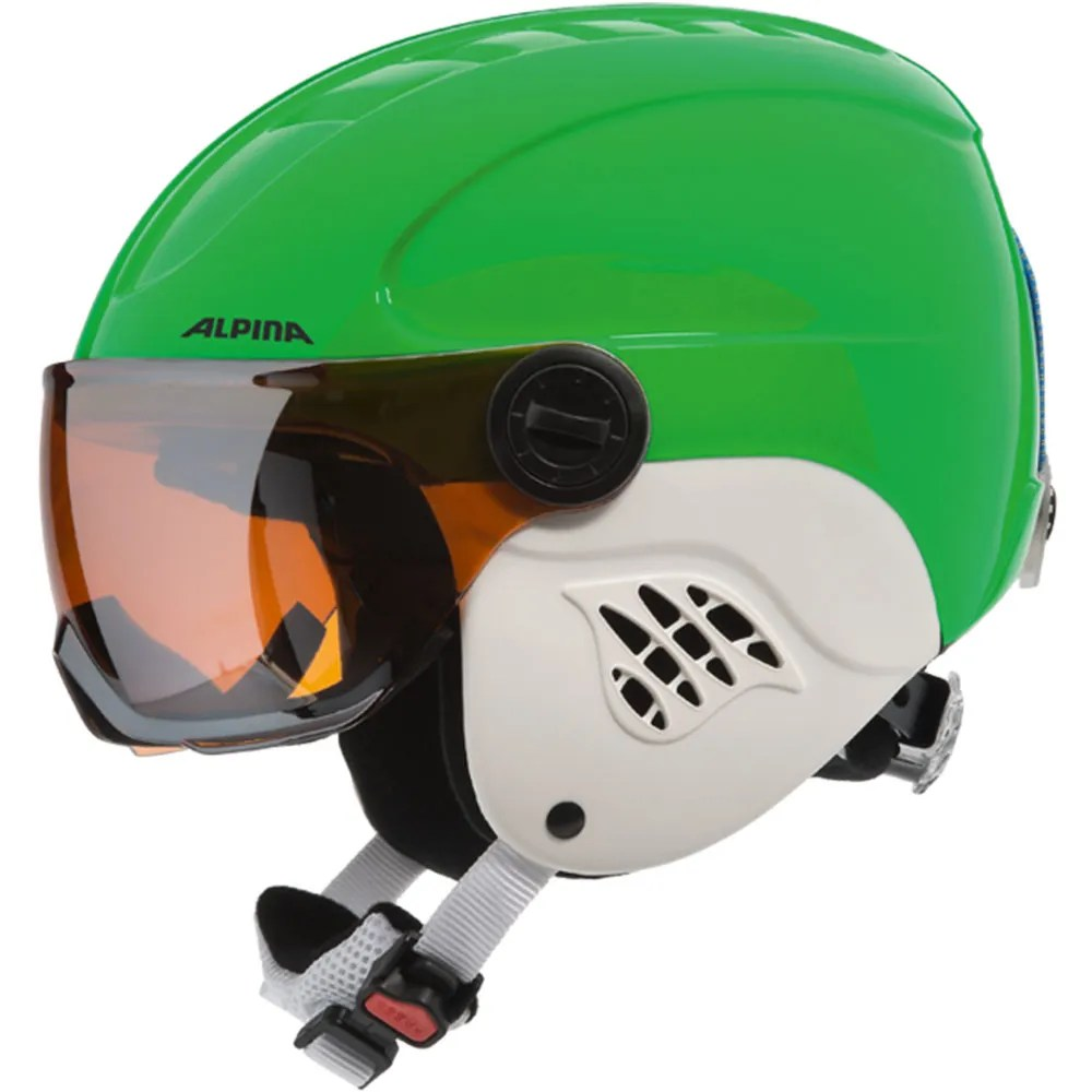 Skihelm Kinder Alpina Carat Visor Kinder-skihelm A9083 Green/blue