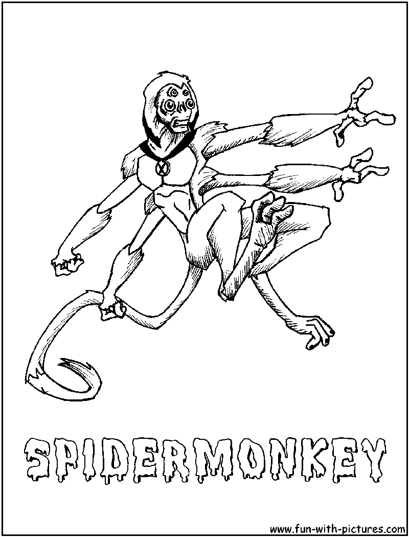 Spider Monkey Coloring Page - Costumepartyrun