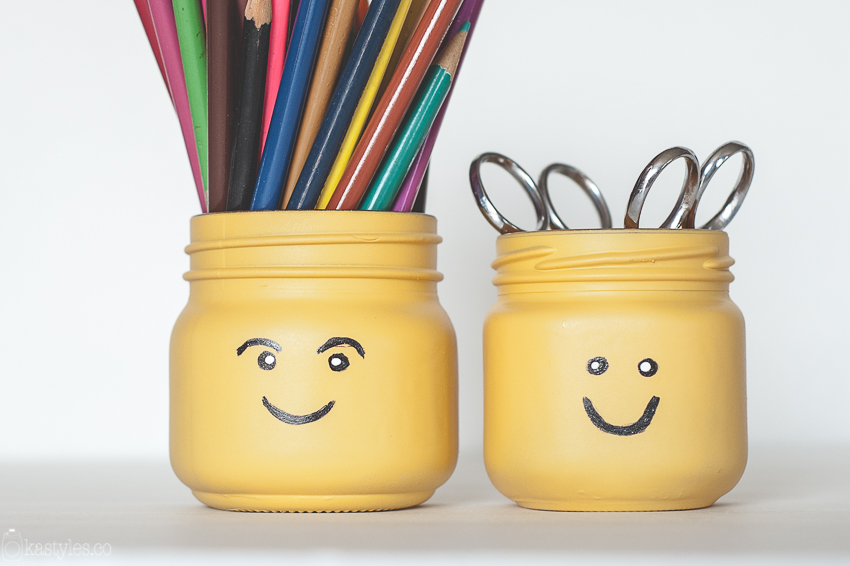 Diy Lego Head Pencil Pots Mason Jars Fun Crafts Kids