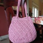 Rose colored Raised Diamonds CInched Tote