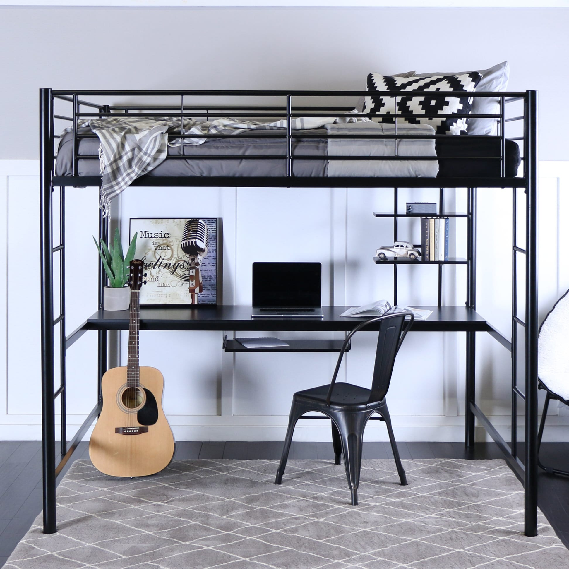 Black Loft Bed Metal Full Loft Bed With Workstation Black By Walker Edison