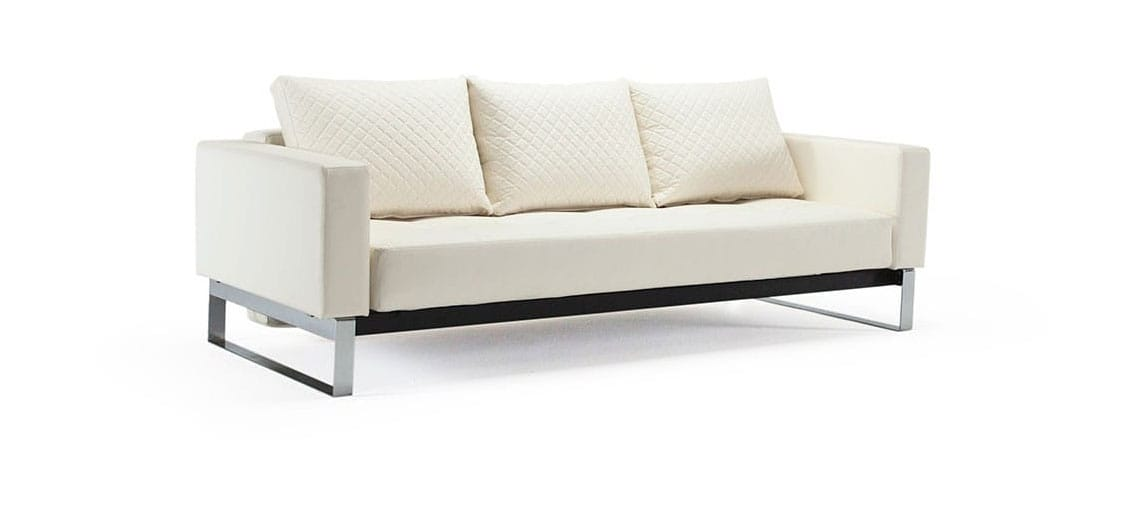 Modern Quilted Sofa Cassius Quilt Sofa Bed Full Size White Leather Textile By
