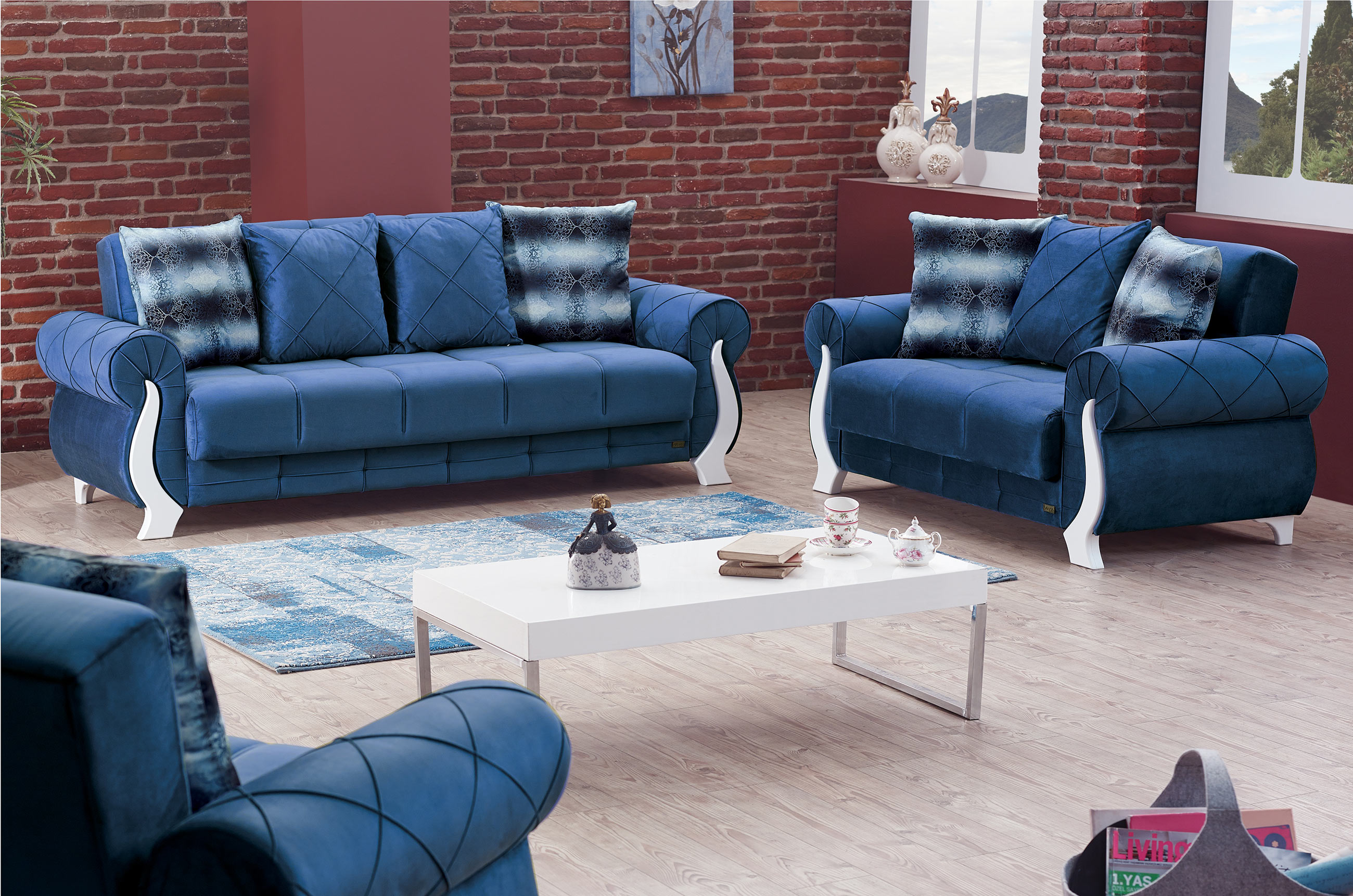 Furniture For Sale Montreal Montreal Blue Fabric Sofa Bed By Empire Furniture Usa