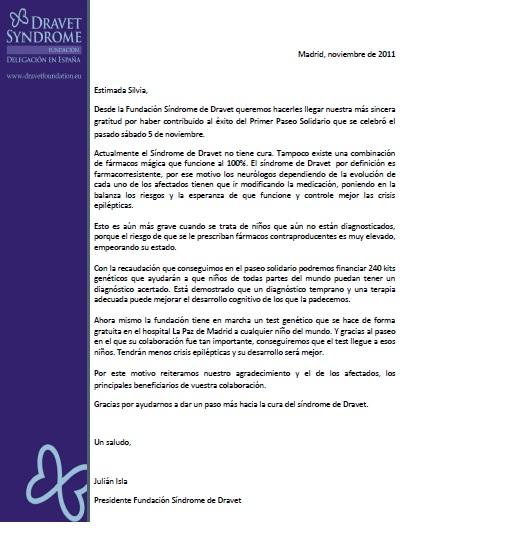 Carta de agradecimiento - Fundación Vipeika