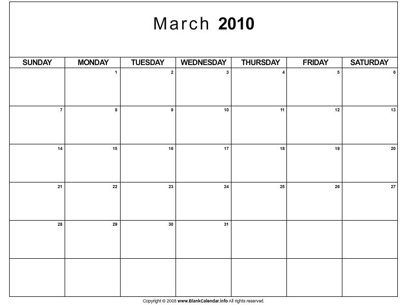 mypicsainmarin blank march calendar