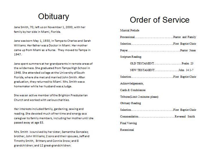 How to Make a Funeral Memorial Program \u2013 Template Funeral Memorial