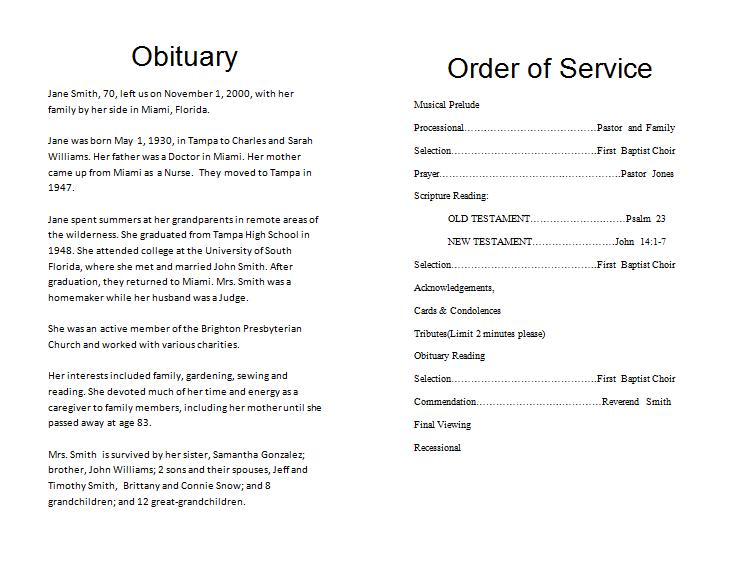 Obituaries Examples Templates – Death Obituary Template