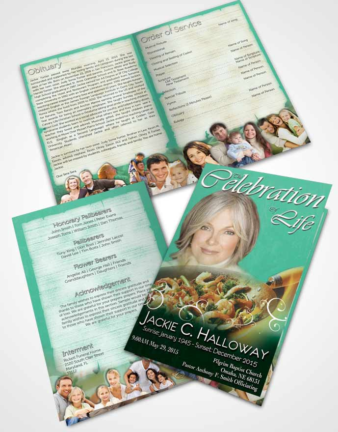 Bifold Order of Service Obituary Template Brochure Love of Emerald - emerald flyer template