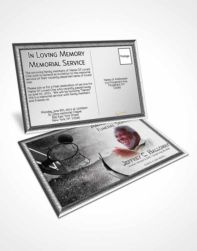 Obituary Template Trifold Brochure Black and White Basketball Star - black and white basketball template