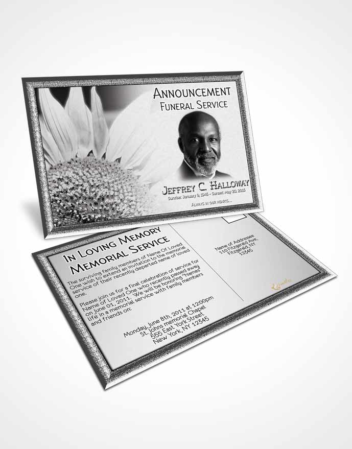 Announcement Card Template Black and White Sunflower - funeral service announcement template