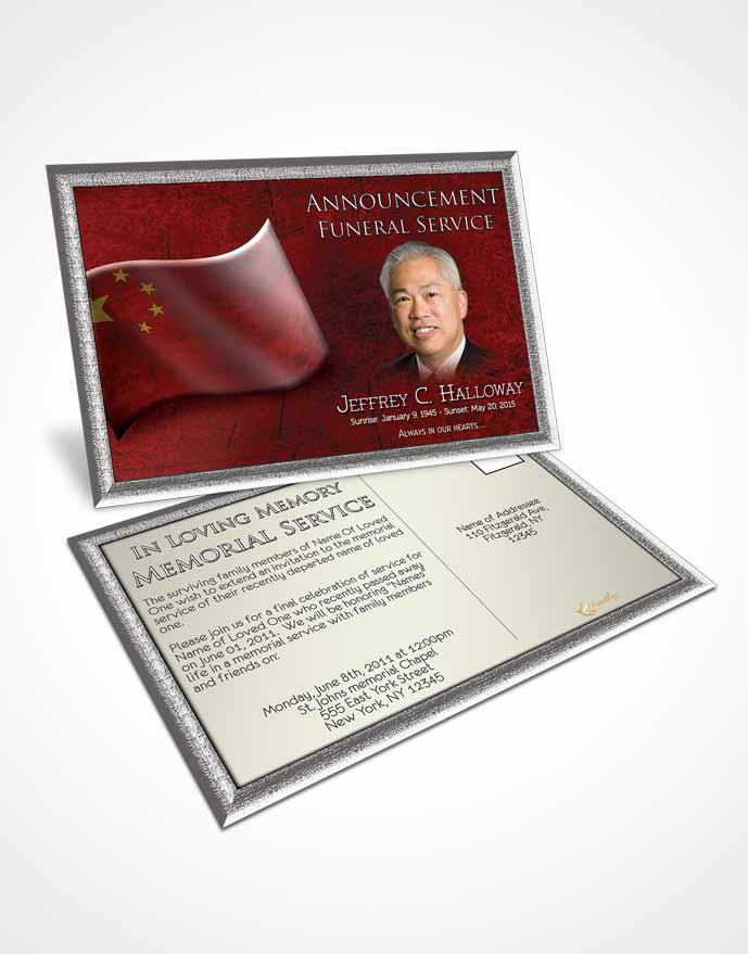 2 Page Graduated Step Fold Funeral Program Template Brochure Chinese - Funeral Announcements Template