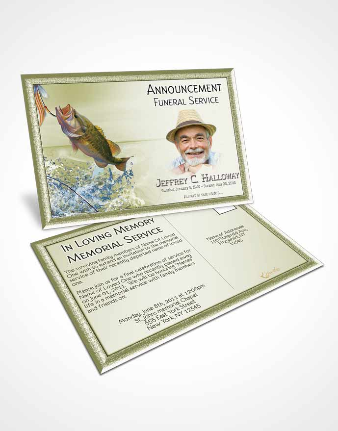 Announcement Card Template Golden Waters Calm Fisherman - obituary cards templates