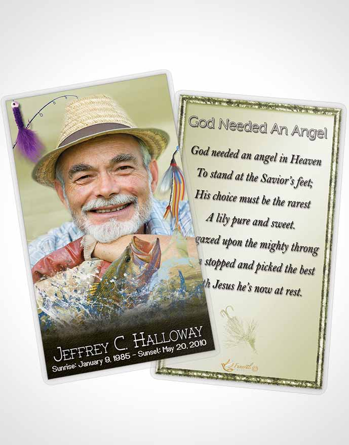 Prayer Card Template Golden Waters Calm Fisherman - obituary cards templates
