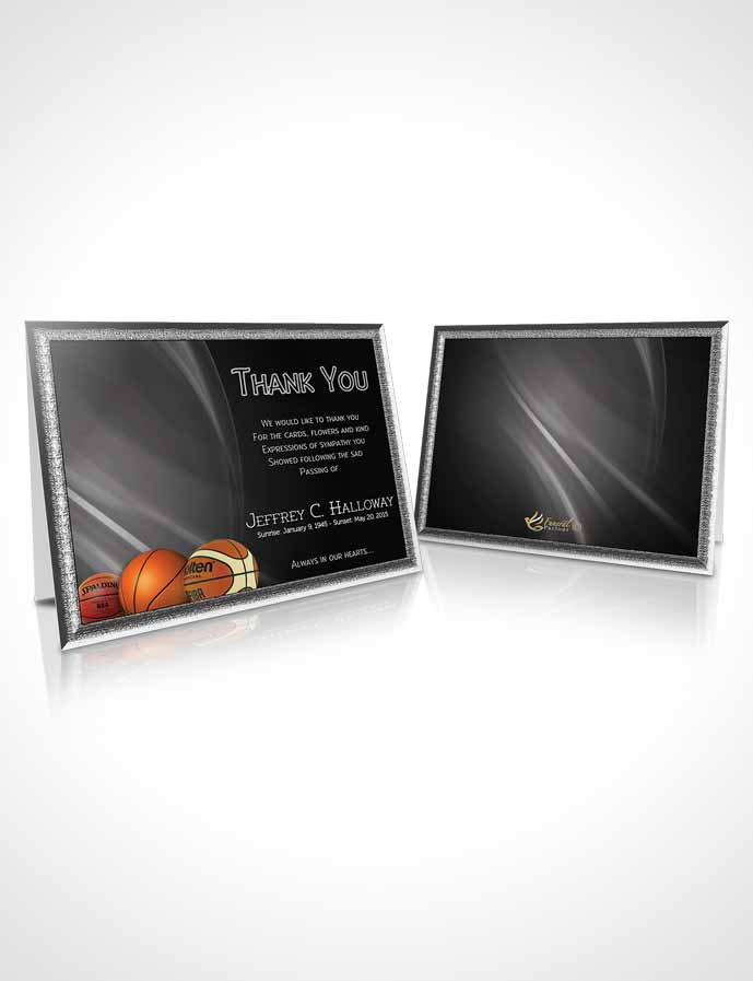 Thank You Card Template Black and White Basketball Lover Dark - black and white basketball template