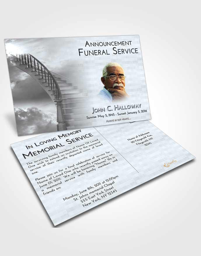 Announcement Card Template Stairway to Heaven Freedom - Funeral Announcements Template