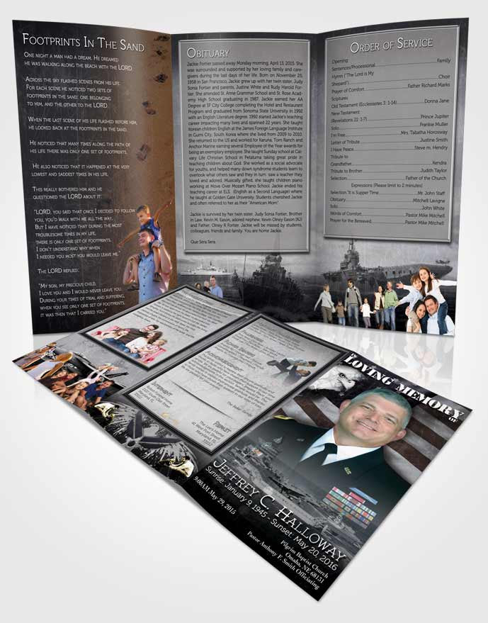 Obituary Template Trifold Brochure Black and White Navy Salute