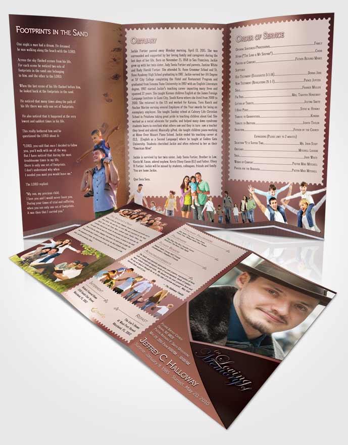 Obituary Template Trifold Brochure Crystal Harmony Terra Cotta Light