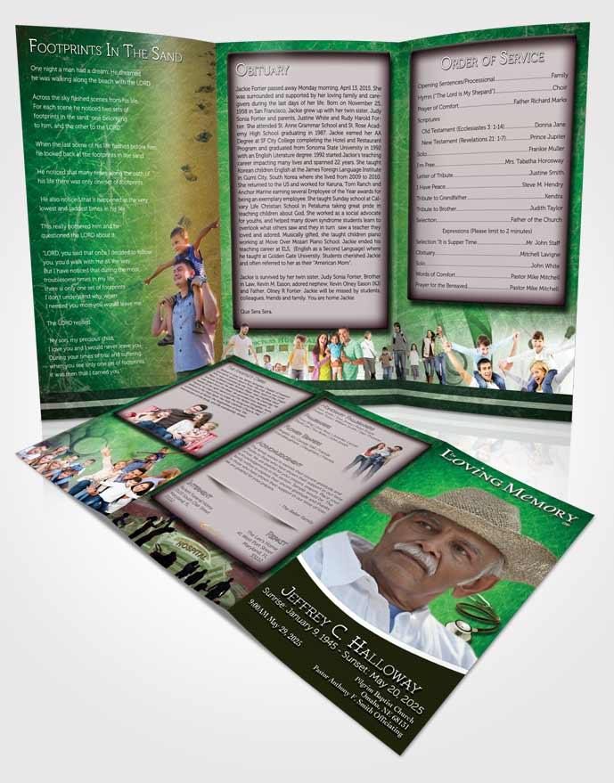 Obituary Template Trifold Brochure Emerald Doctor \u2022 FuneralParlour - emerald flyer template