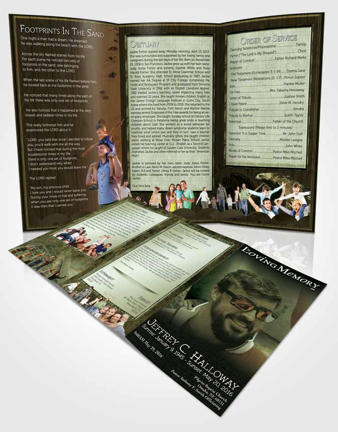 Obituary Template Trifold Brochure Mexican Emerald Serenity - emerald flyer template