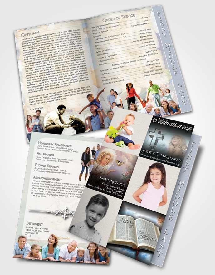2 Page Graduated Step Fold Funeral Program Template Brochure Angel