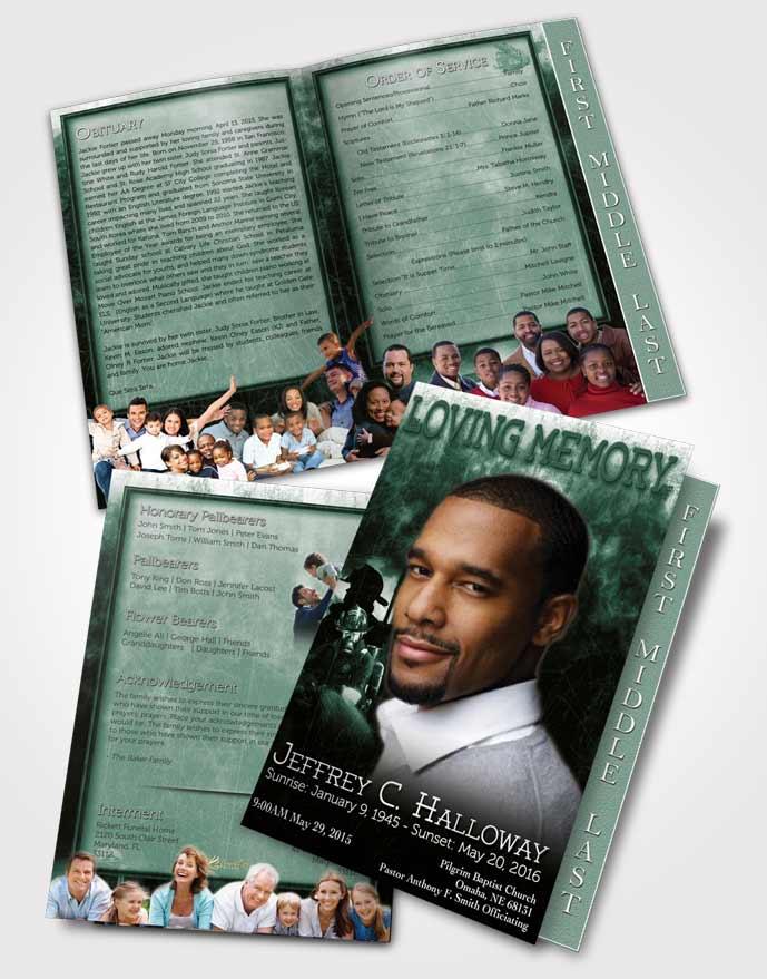 2 Page Graduated Step Fold Funeral Program Template Brochure Emerald