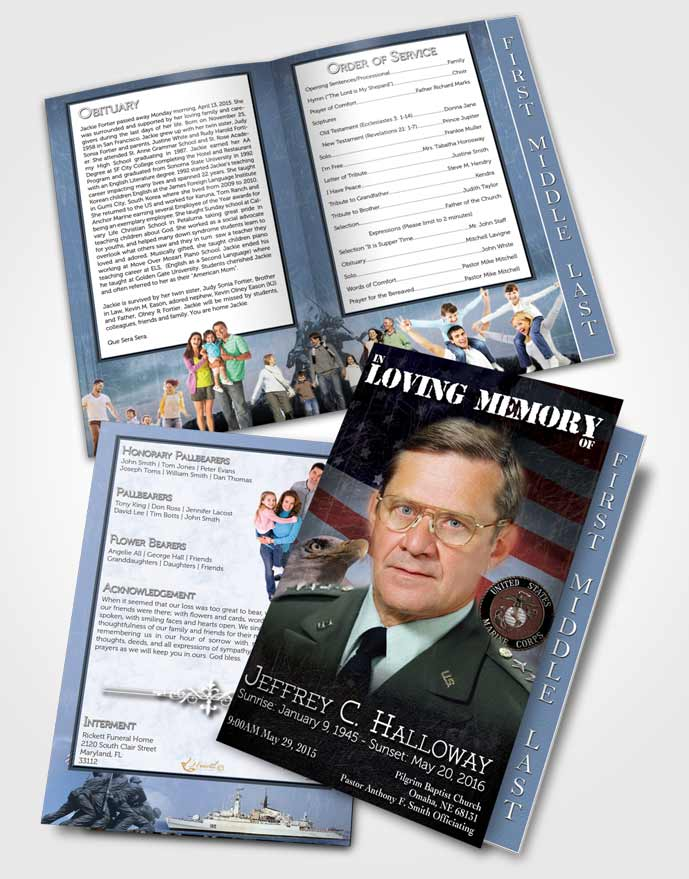 2 Page Graduated Step Fold Funeral Program Template Brochure Going