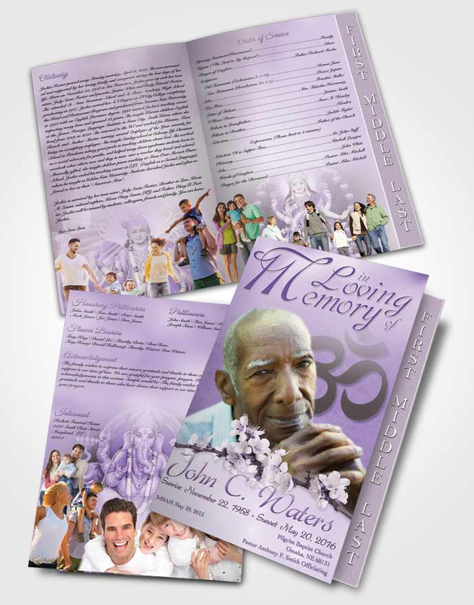 2 Page Graduated Step Fold Funeral Program Template Brochure Hindu
