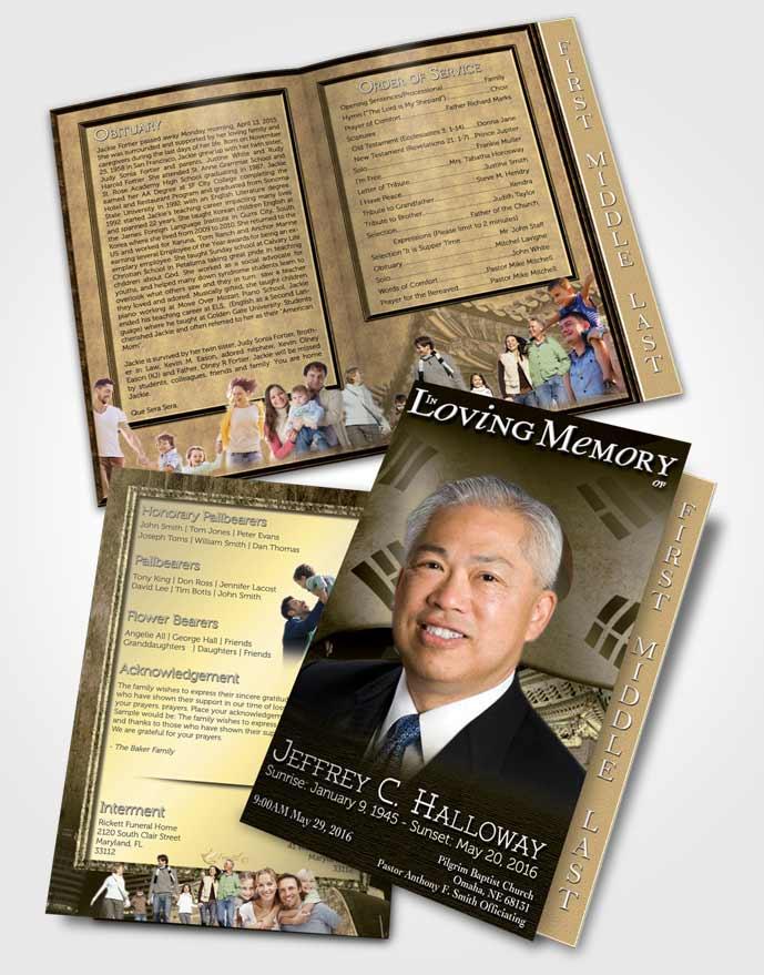2 Page Graduated Step Fold Funeral Program Template Brochure Korean