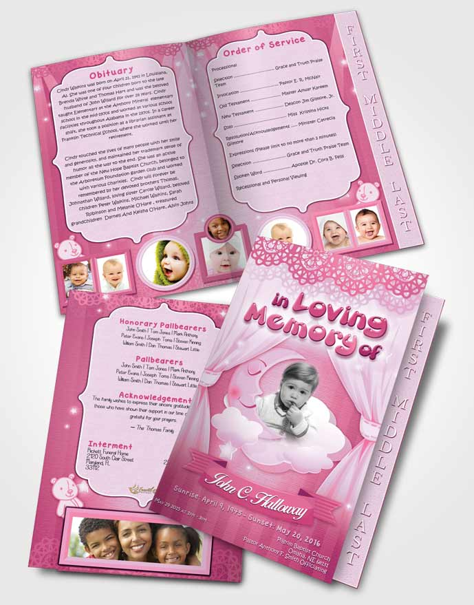 2 Page Graduated Step Fold Funeral Program Template Brochure Pink - funeral flyer template