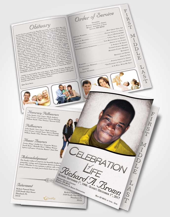 2 Page Graduated Step Fold Funeral Program Template Brochure Free