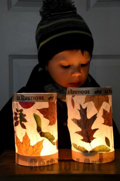 Toddler With Baby Leaf Lantern Fun Family Crafts