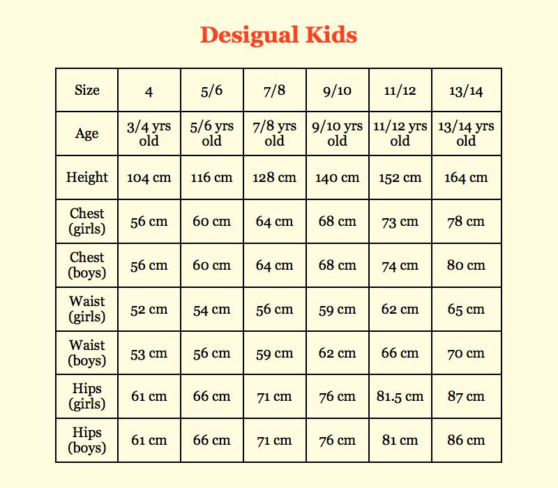 Desigual Size Guide - Canada Fun Fashion