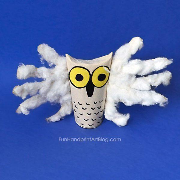 Snowy Owl Handprint Craft - Owl Babies Book Activity