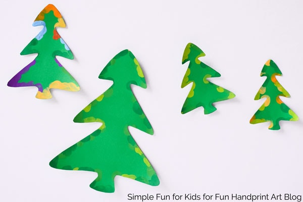 Fingerprint Christmas Tree Cards with Templates - Fun Handprint Art - christmas tree printables
