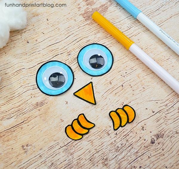 Handprint Snowy Owl Craft With Printable - Fun Handprint Art
