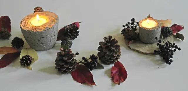Herbstdeko aus Beton und Naturmaterialien