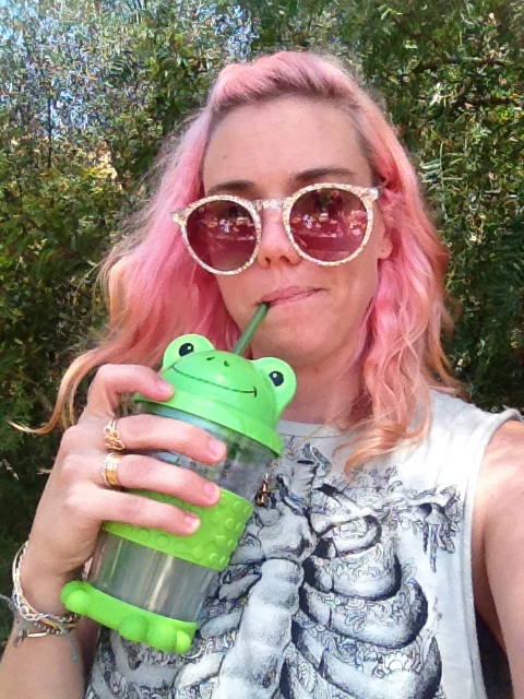 I drank it out of my special froggy sippy cup.