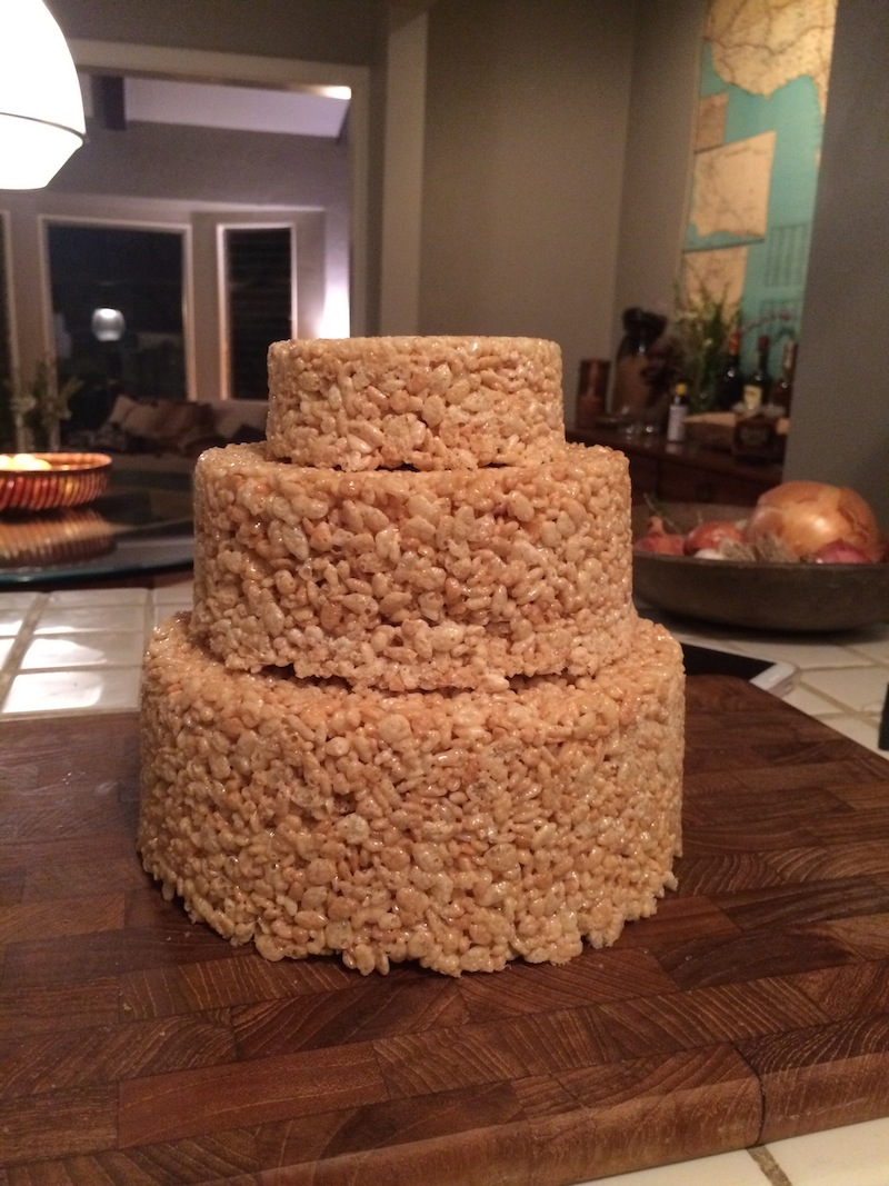 How to make an easy-yet-super-impressive Rice Krispie treat cake