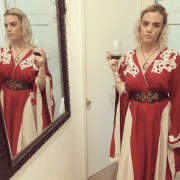 My Cersei had short hair because of a wig malfunction. But she still had wine and mega bitch-face.