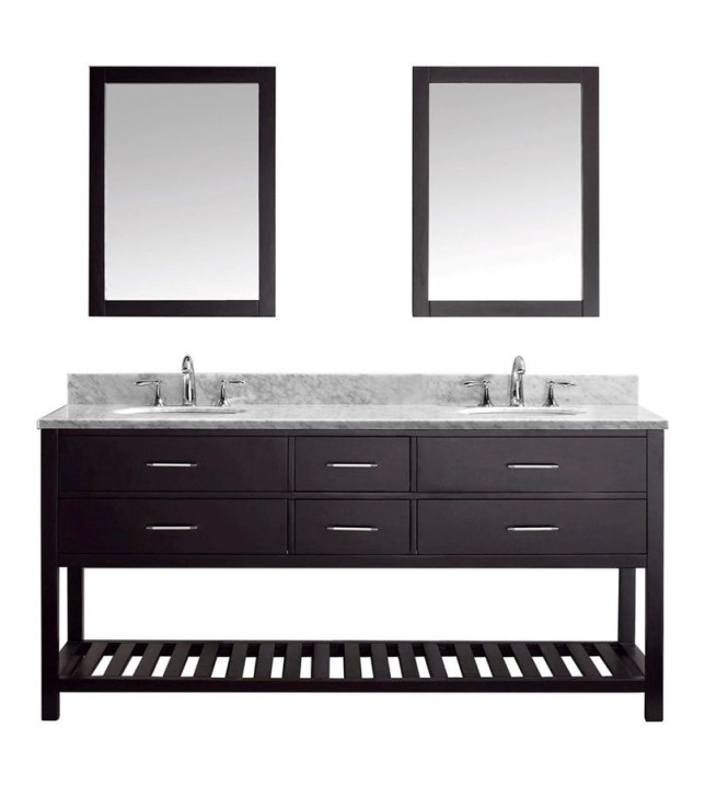 Transitional Double Sink Bathroom Vanities That Have Cool Open Spaces