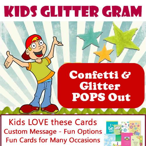 Kids Glitter Gram Card Fun Kids Greeting Cards - FunkyDelivery
