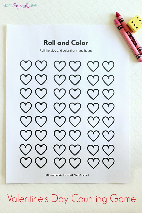 Roll and Color Valentine\u0027s Day Counting Game